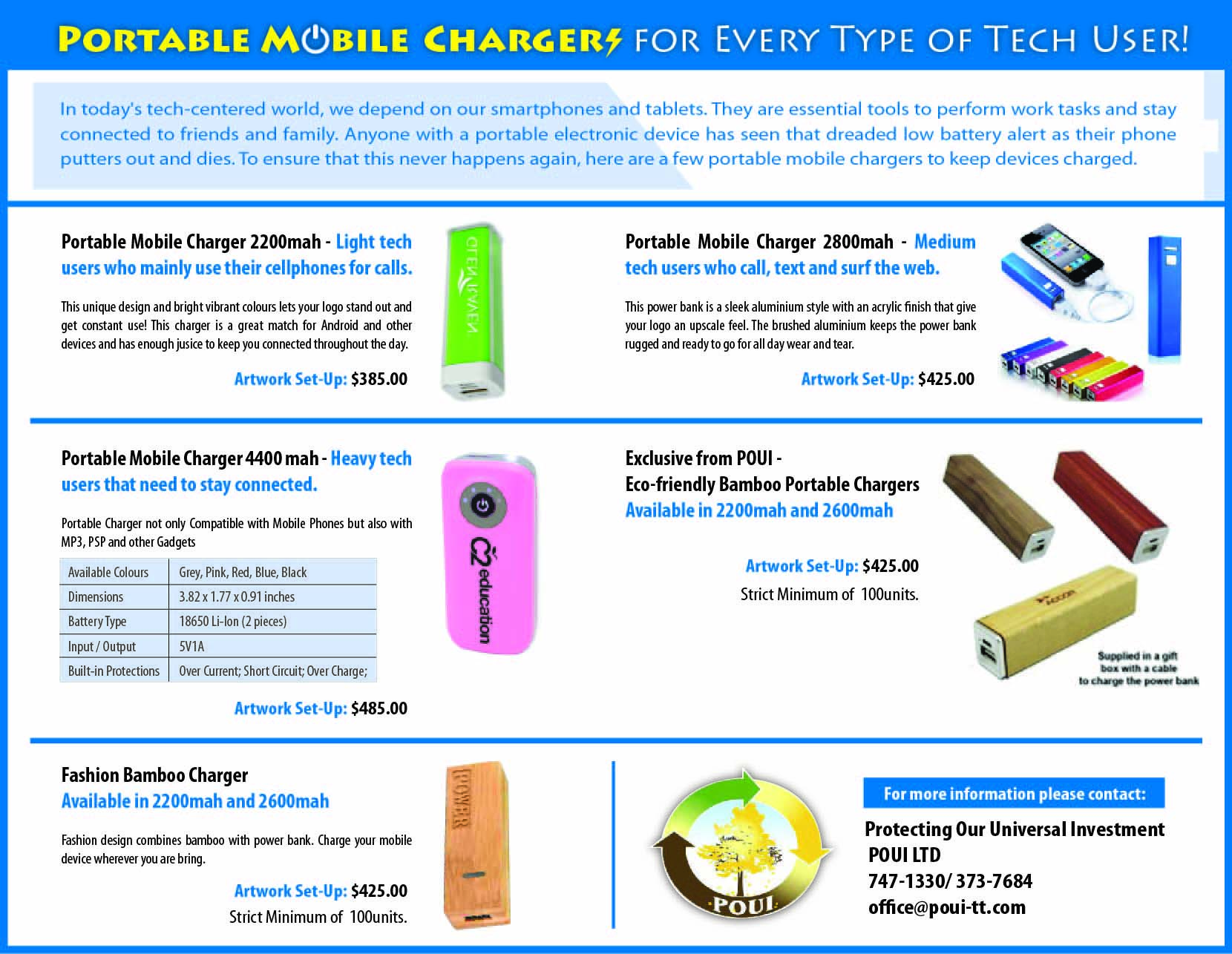 portable mobile chargers flyer